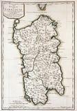 Vecchia mappa della Sardegna, Italia Fotografia Stock