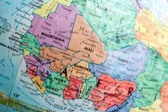 Vecchia mappa della stampa, globo terrestre, Africa, fotografie stock