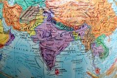 Vecchia mappa della stampa, globo terrestre, Asia immagine stock