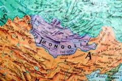 Vecchia mappa della stampa, globo terrestre, Mongolia immagini stock libere da diritti