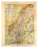 Vecchia mappa della Svezia e della Norvegia Fotografia Stock Libera da Diritti