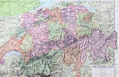 Vecchia mappa 1945 della Svizzera Fotografia Stock
