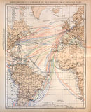 Vecchia mappa delle linee di nave a vapore attraverso l'Atlantico Fotografie Stock