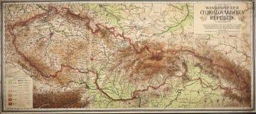 vecchia mappa di Ceco e della Repubblica Slovacca Fotografia Stock