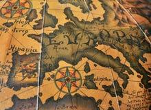Vecchia mappa di Europa di seppia fotografia stock