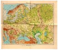 Vecchia mappa di Europa orientale nel 1943 Immagine Stock Libera da Diritti