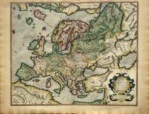 Vecchia mappa di Europa, stampata nel 1587 Fotografie Stock Libere da Diritti