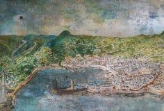Vecchia mappa di Genova, Italia immagine stock