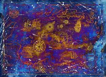 Vecchia mappa di mar dei Caraibi con le navi e le bussole di pirata sul fondo blu di struttura illustrazione di stock