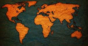 Vecchia mappa di mondo d'annata Fotografie Stock Libere da Diritti