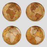 Vecchia mappa di mondo della terra - insieme 3d Fotografia Stock Libera da Diritti