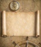 Vecchia mappa nautica in bianco con i volanti royalty illustrazione gratis