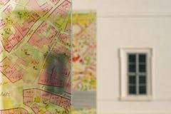 Vecchia mappa storica sulla via Fotografia Stock Libera da Diritti