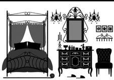Vecchia mobilia della stanza reale della camera da letto Immagini Stock Libere da Diritti