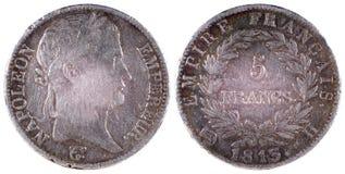 Vecchia moneta antica della Francia 1813 anni Fotografia Stock