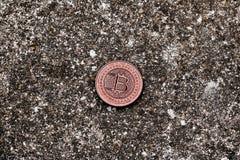 Vecchia moneta d'ottone del bitcoin Immagine Stock Libera da Diritti