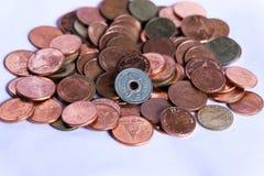 Vecchia moneta del Siam sulle monete tailandesi del bagno Fotografia Stock Libera da Diritti