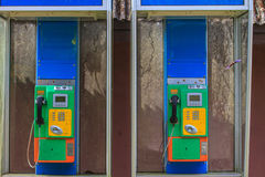 Vecchia moneta del telefono pubblico Fotografia Stock Libera da Diritti