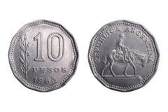 Vecchia moneta dell'Argentina con il figurine del gaucho. immagini stock