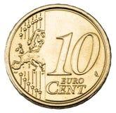 Vecchia moneta dell'euro da dieci centesimi Fotografia Stock