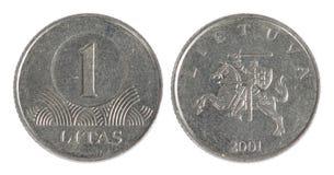 Vecchia moneta della Lituania Fotografia Stock