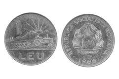 Vecchia moneta della Romania Lei uno Fotografie Stock Libere da Diritti