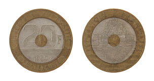 Vecchia moneta francese isolata su bianco Immagini Stock