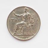 Vecchia moneta italiana Fotografie Stock