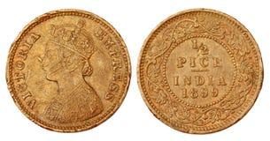 Vecchia moneta mezza indiana di Pice del regime coloniale Immagine Stock