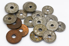 Vecchia moneta tailandese Fotografia Stock
