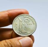 Vecchia moneta tailandese una baht immagine stock
