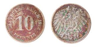 Vecchia moneta tedesca Immagine Stock