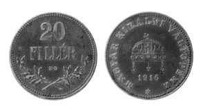 Vecchia moneta ungherese Fotografie Stock