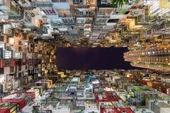 Vecchia multi proprietà Cina di architettura di colore di Hong Kong Residential Fotografie Stock