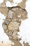 Vecchia muratura con il gesso dell'argilla Fotografia Stock