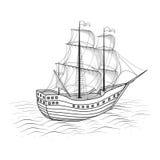 Vecchia nave con le vele ed il mare illustrazione vettoriale