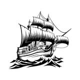 Vecchia nave dell'illustrazione con le onde nella retro progettazione di stile Fotografie Stock