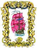 Vecchia nave di navigazione con le vele rosse nel telaio decorato nautico isolato su bianco royalty illustrazione gratis