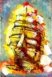 Vecchia nave dipinta, materiale illustrativo divertente dell'illustrazione di arte dell'olio illustrazione di stock