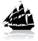 Vecchia nave nera Fotografia Stock