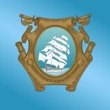 Vecchia nave su araldica illustrazione di stock