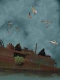 Vecchia nave sunken Fotografie Stock Libere da Diritti
