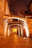 Vecchia notte delle vie a Tallinn. L'Estonia. Europa Immagini Stock