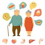Vecchia obesità delle coppie infographic Fotografia Stock