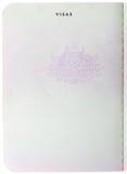 Pagina australiana in bianco del passaporto Fotografia Stock