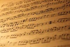 Vecchia pagina delle note musicali Fotografia Stock Libera da Diritti