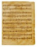 Vecchia pagina musicale delle note Immagine Stock Libera da Diritti