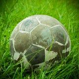 Vecchia palla messa su erba verde Fotografia Stock Libera da Diritti