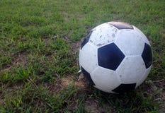 Vecchia palla sull'erba verde fotografia stock