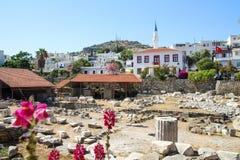 Vecchia panoramica di Halicarnassus con i fiori immagini stock libere da diritti